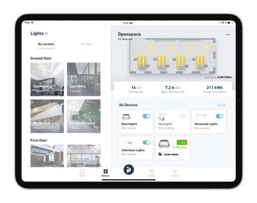Übersichtliche Oberfläche: Per iHaus App lassen sich Zumtobel Leuchten individuell konfigurieren